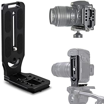 iShoot Universal Adjustable L-Shaped Vertical Shoot Quick Release Plate Compatible with Canon Nikon Pentax Olympus Sigma Fuji Fujifilm SLR//SLT Camera w//or w//o Battery Grip /& ARCA-Swiss Fit Ball Head