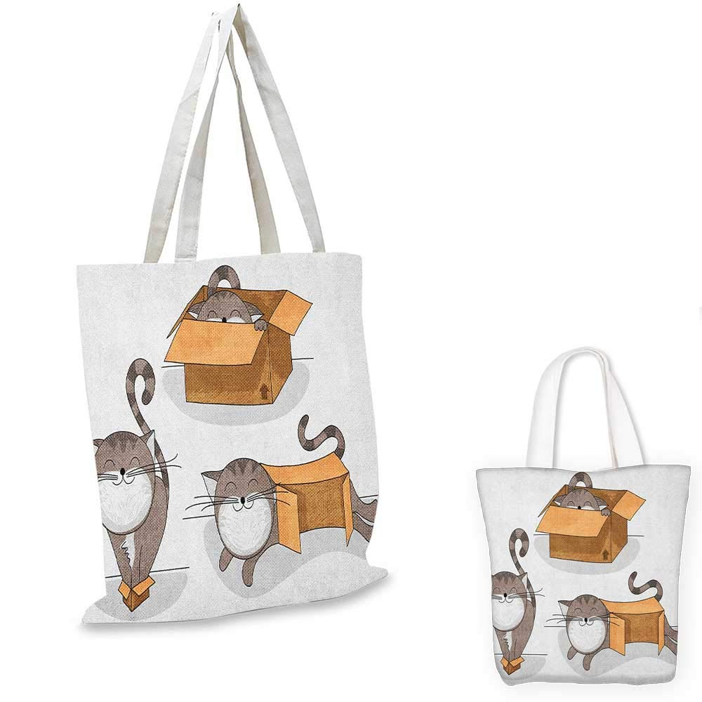 12x15-10 Cat canvas messenger bag Cartoon Style Lively Colored Friendly Cheerful Characters with Hearts Happiness Love canvas beach bag Multicolor