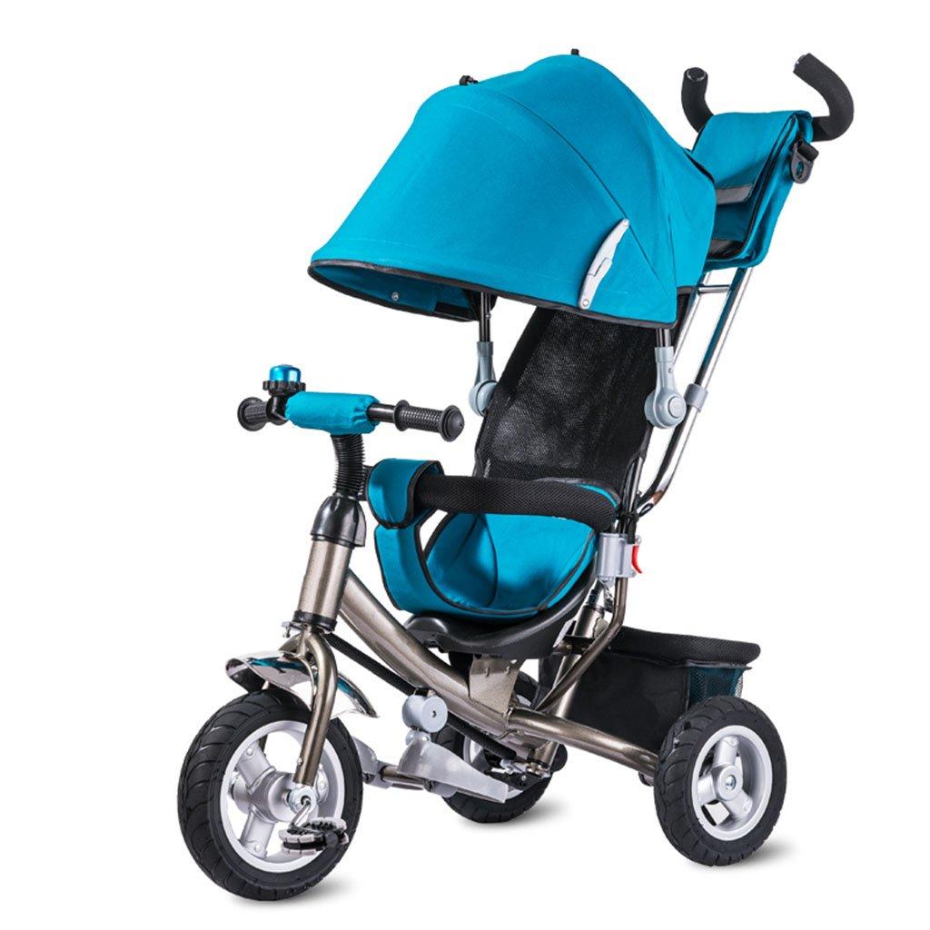 子供の自転車、子供の三輪車の自転車の赤ちゃんのトロリーチタンの空ホイール赤ちゃんのキャリッジ二重ブレーキ B07CHBM26V青