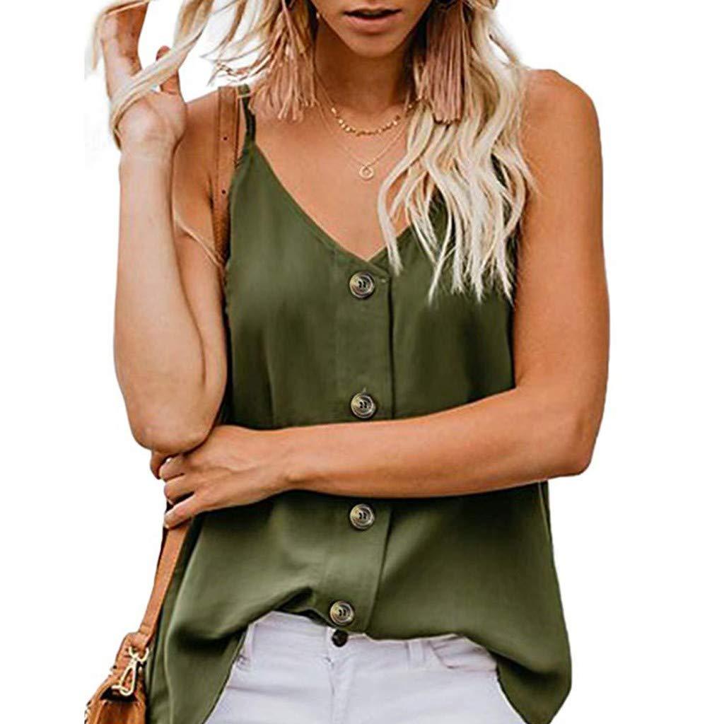 Sanyyanlsy Women Button V Neck Strappy Tank Tops Loose Sleeveless Shirts Blouses (XL, Green) by Sanyyanlsy