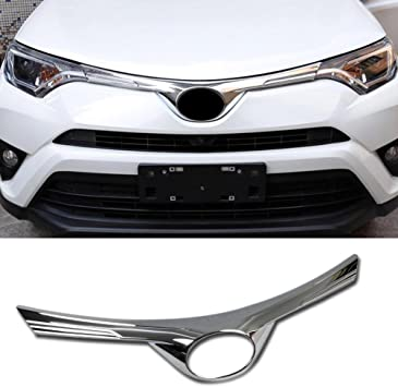 Beautost Fit For Toyota RAV4 2016 2017 2018 Chrome Front Grill Grille Bumper Upper Protection Cover Trim