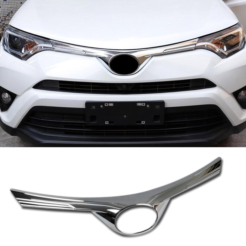 Rqing For Toyota RAV4 2016 2017 2018 Front Grill Grille Guard Cover Trim Chrome