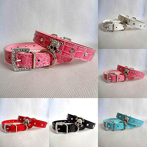 Adjustable Bling Rhinestone PU Leather Skull Dog Cat Puppy Sparkly Diamond Pet Collar--Pink L