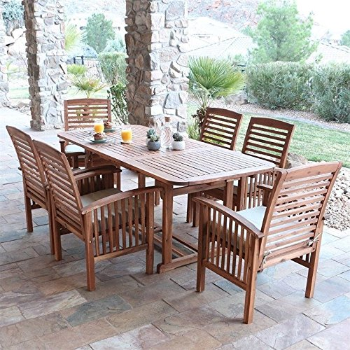 Mission Rectangular Dining Table (Walker Edison Solid Acacia Wood 7-Piece Patio Dining Set)