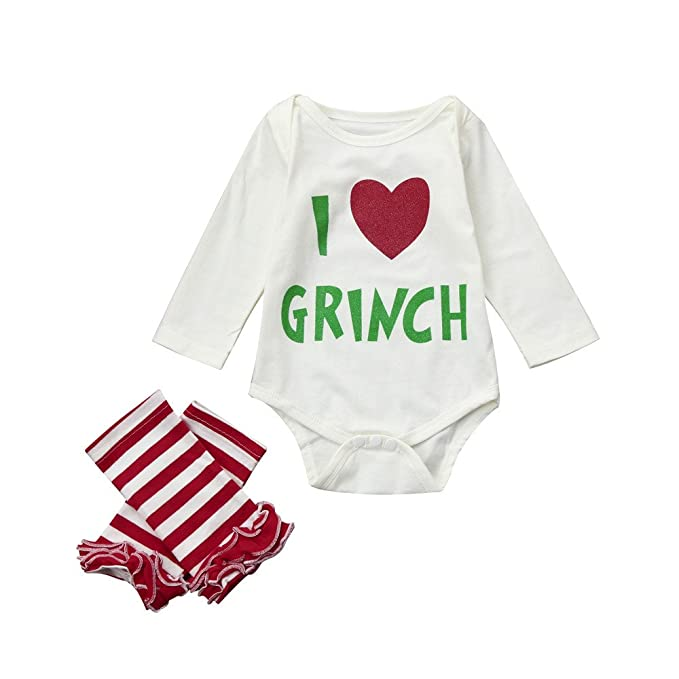 f2f86a70c62d ML_Victor Baby Girls Clothes Infant Letter I Love Grinch Romper Tops Leg  Warmers 2Pcs Christmas Outfits