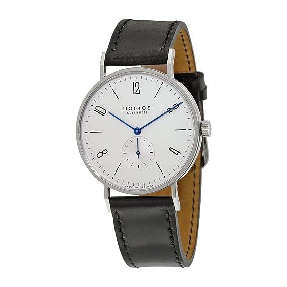 Nomos tangente 38 galvanizado blanco plata Dial Mens Reloj 164