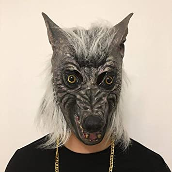 Circlefly Peluca de Halloween Horror Máscara Látex de la máscara de Lobo shemale Monster apoyos de