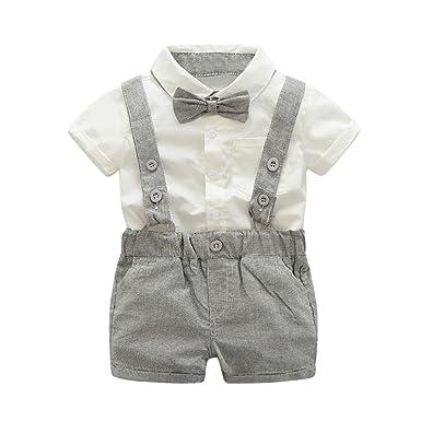 0dd1d7ea9927 Toddler Kids Baby Boy Summer Gentleman Bowtie Cartoon T-shirt Top Striped  Short Pants Outfit