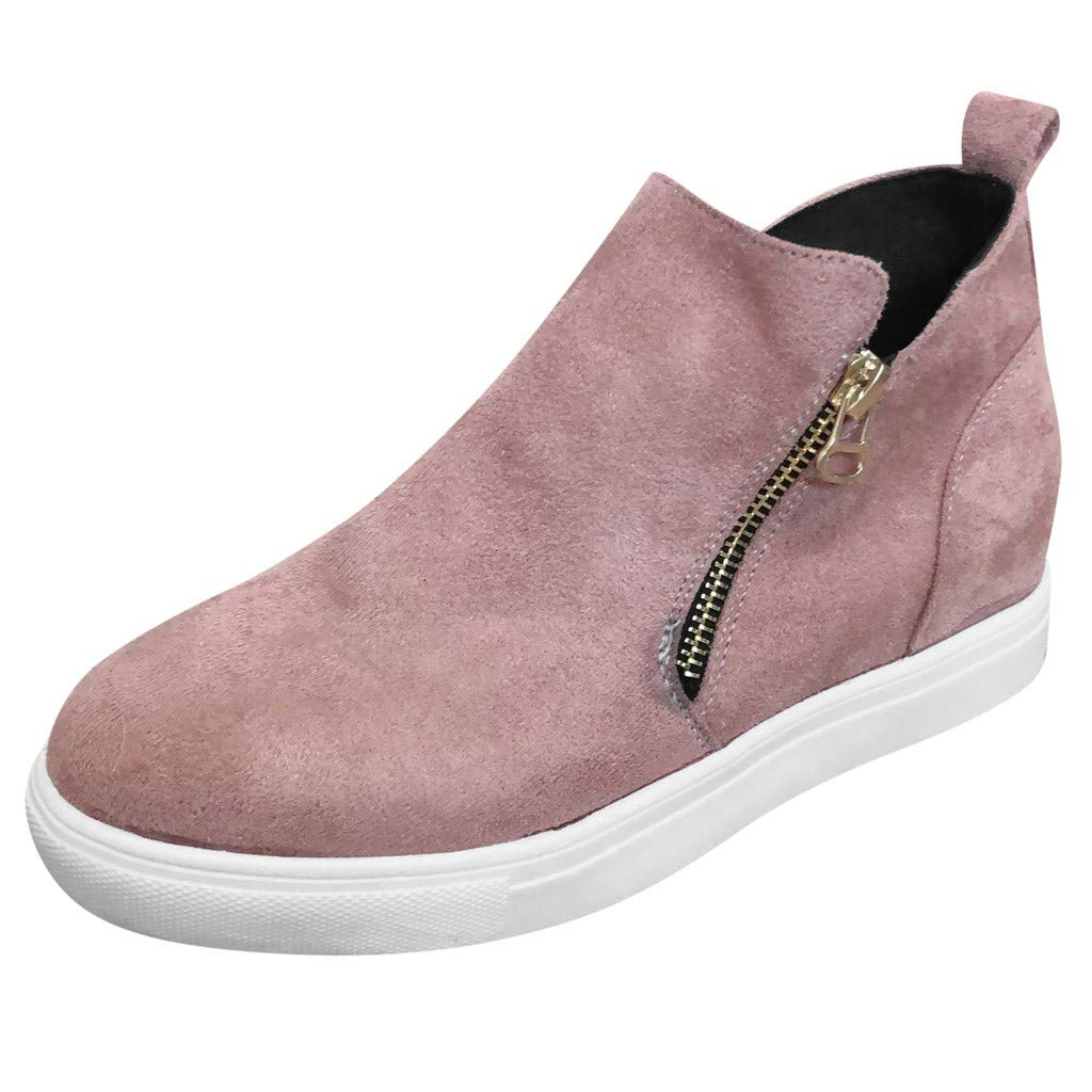 Clearance! Swiusd Women's Zip Flat Boots Comfy PU Leather Oxford Shoes Retro Thick Bottom Single Shoes Trendy Non Slip Casual Shoes (Pink, 6 M US)