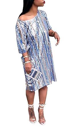 75a31853db HuiSiFang Women's Sparkle Sequin Long Tee Shirts Short Sleeve Striped T  Shirt Dress Clubwear