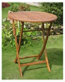 International Caravan Balau Wood 36 in. Round Folding Patio Table Review