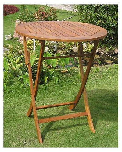 International Caravan Balau Wood 36 in. Round Folding Patio Table
