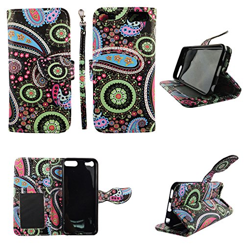 White Paisley Wallet Folio Case for Ipod Touch 5 6 5th 6th Dual Layer Interior Design Flip PU Leather Cover Card Cash Slots & Stand