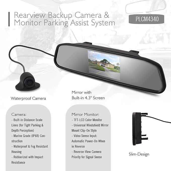 Amazon.com: Pyle Retrovisor Backup cámara & Espejo Monitor ...