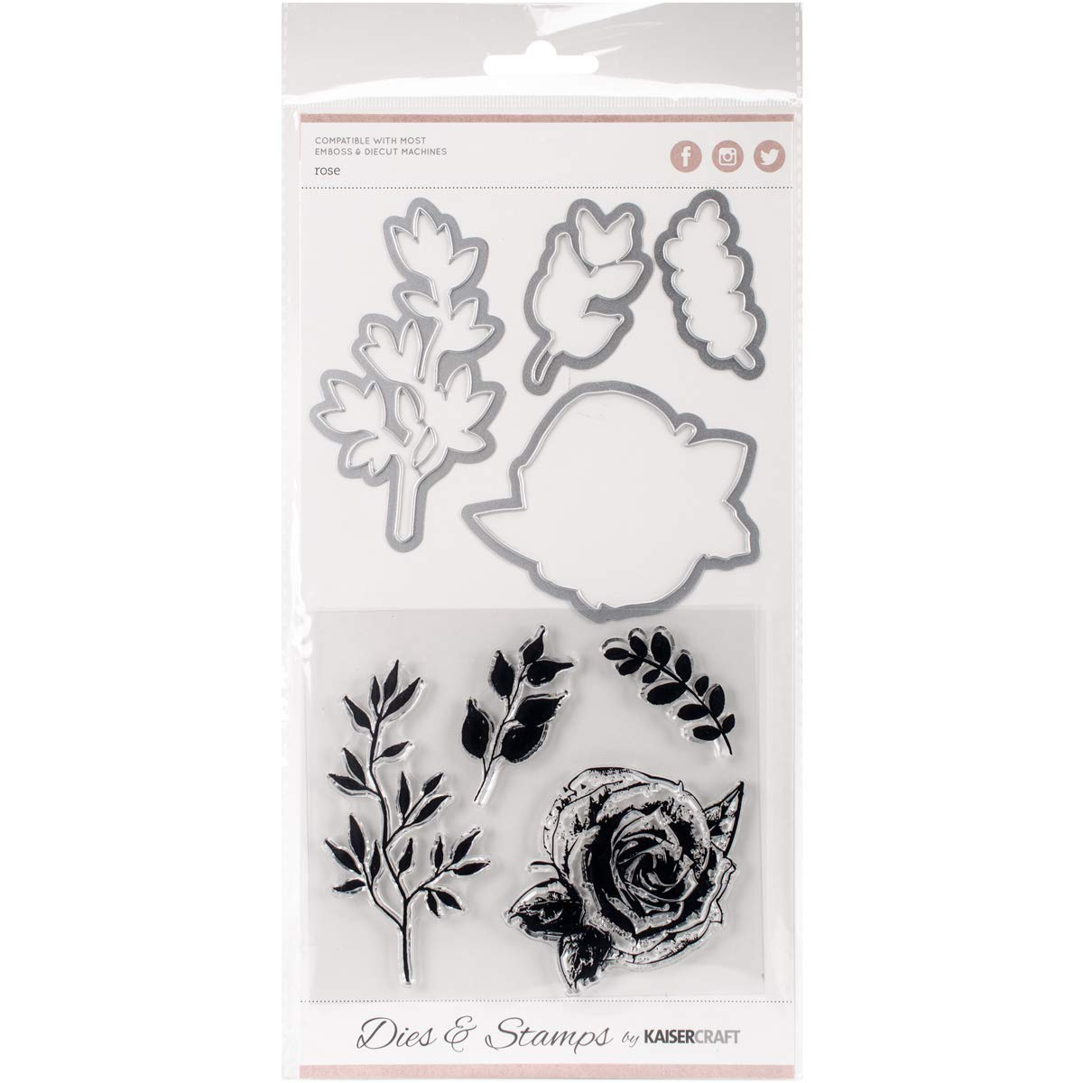 Kaiser Craft Decorative Dies and Clear Acrylic Stamps Rose (8 Pack)