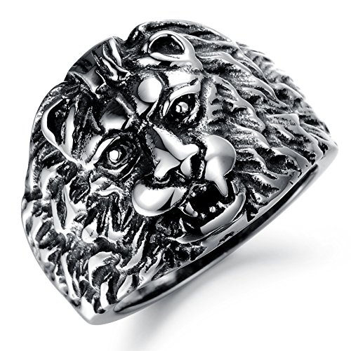 Paialco Mens Antiqued Stainless Steel Lion Head Classic Gothic Biker Ring Band, US Size 7