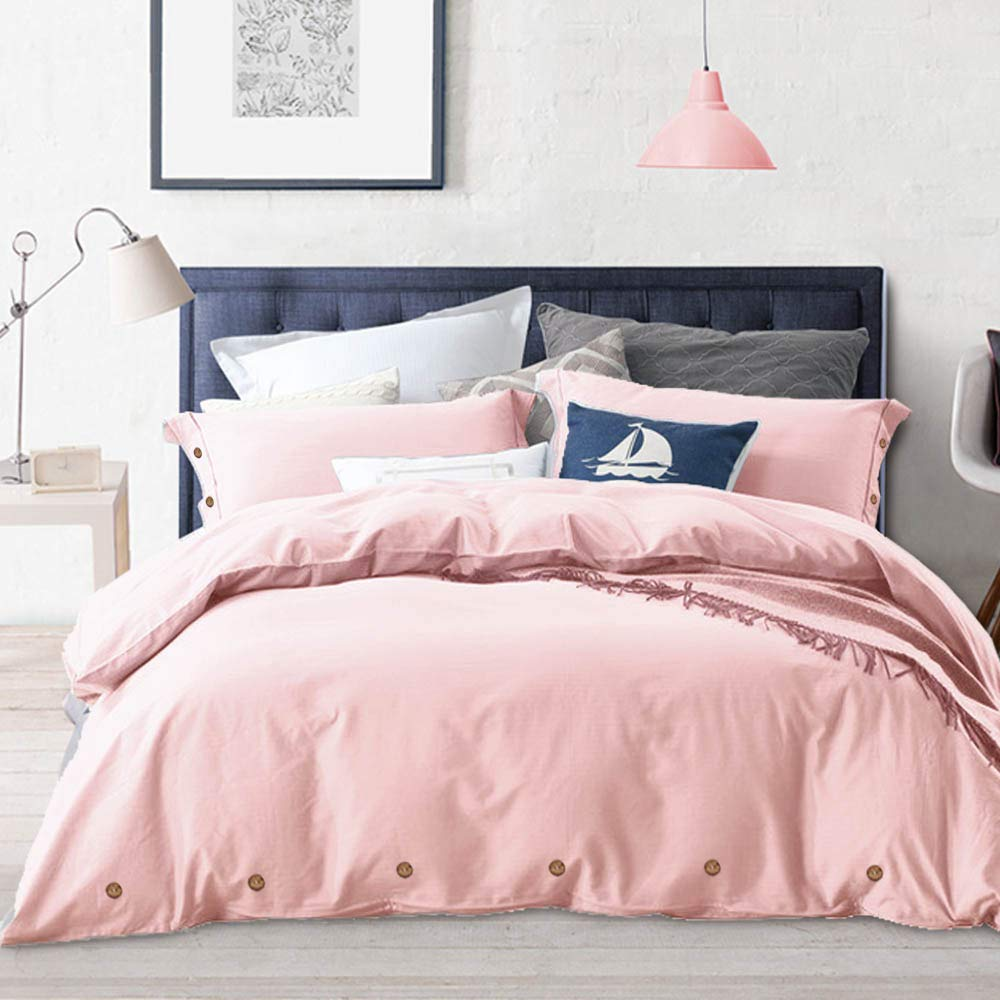 NANKO Pink Duvet Cover Queen, 3 Piece Set - Luxury Microfiber Comforter Bedding Covers 90x90,20x26 Pillowcases- Men and Women Bedroom Decor, Pink