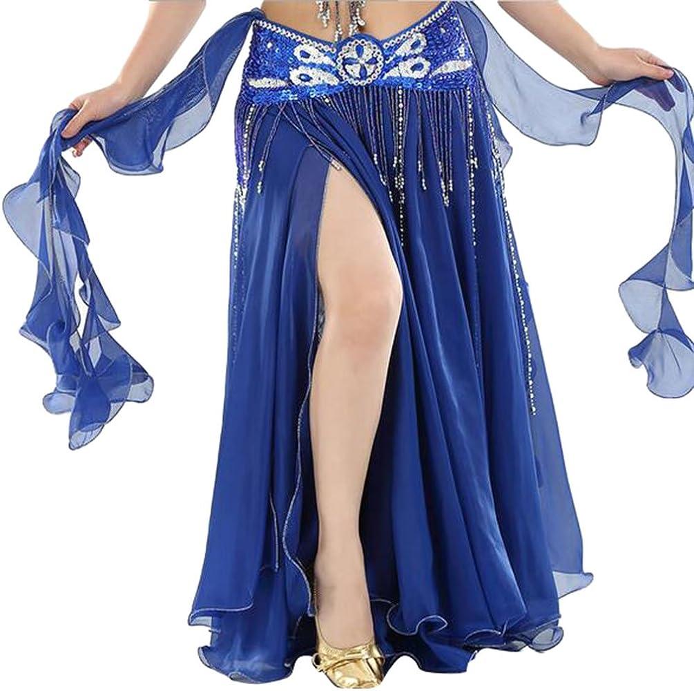 YuanDian Femme Couleur Unie Danse du Ventre Double Haute Fente Longue Jupe Professionnelle Moderne Danse Costume Mousseline De Soie Jupe Non Compris la Ceinture