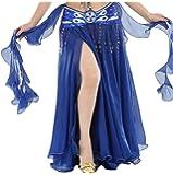 YuanDian Damen Chiffon Einfarbig Professionelle Tänzerin Bauchtanz Spliss Öffnungs Swing Long Rock Tanzkostüm Bauch Dance Kleid (Nicht inbegriffen ist Gürtel)