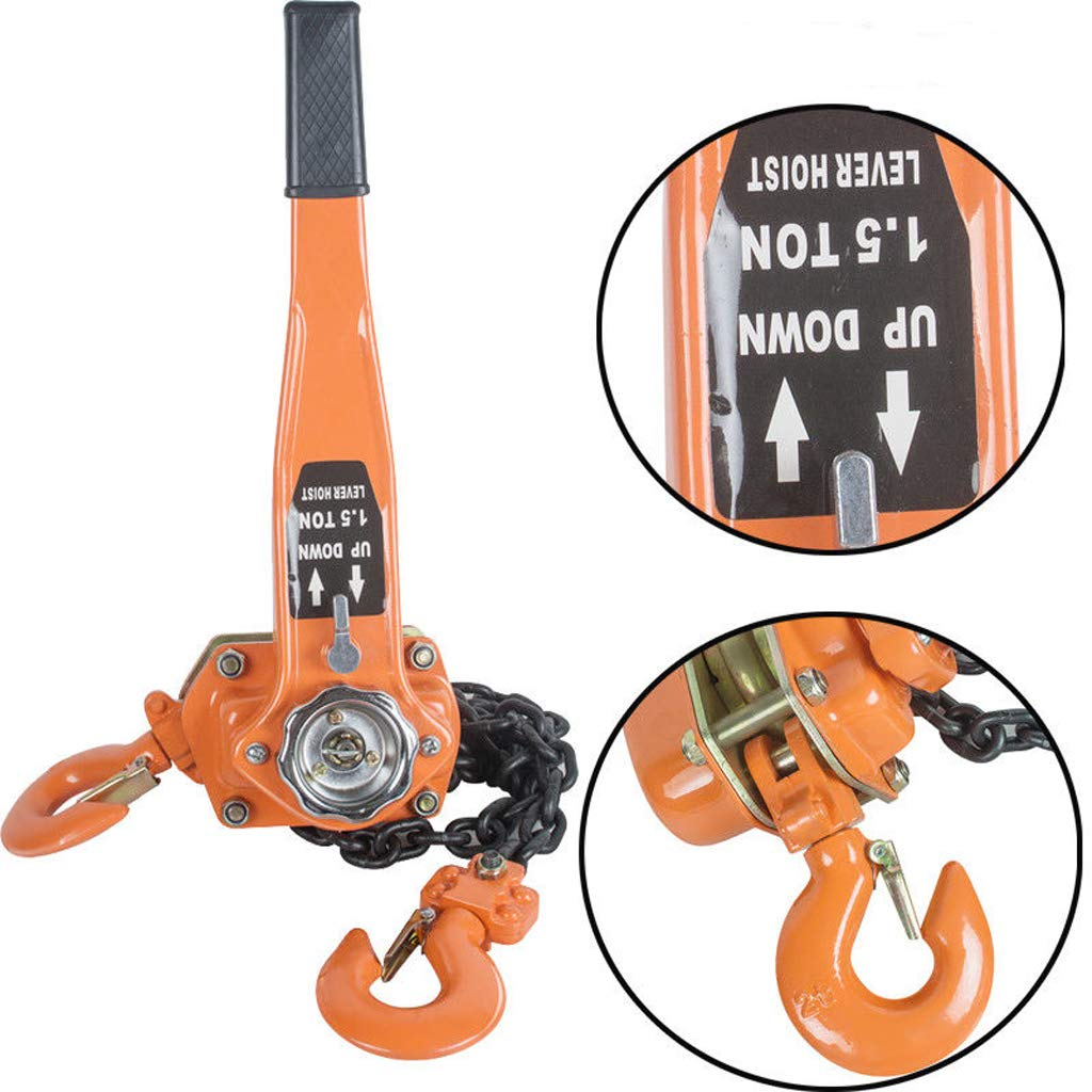 Chain Block 1.5T 3000LBS Ratchet Lever Block Chain Hoist Manual Lever Chain Hoist Come Along Chain Puller(Shipping from USA)