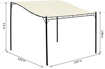 Pérgola, cenador de jardín, toldo, 2, 97 x 2, 97 m, adosable, Metal Negro, Poliéster impermeabilizado, antirrayos UV, Beis, 38: Amazon.es: Jardín