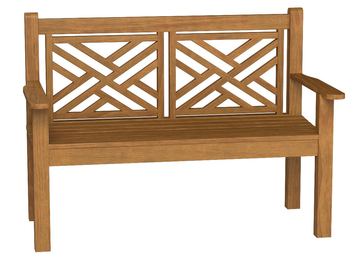 Teak Bench Chippendale 4ft