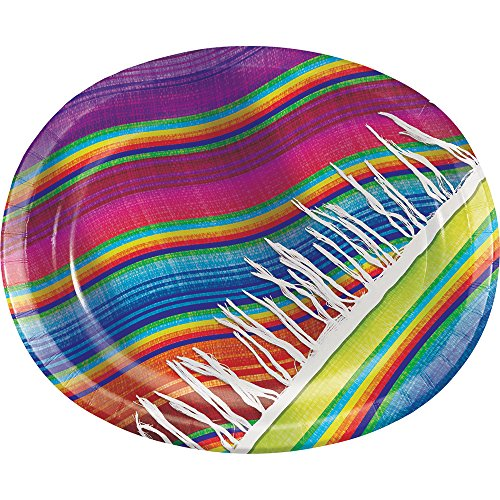 Fiesta Dinner Party - Creative Converting 322282 8 Count Serape Oval Paper Platters, Oval Platters