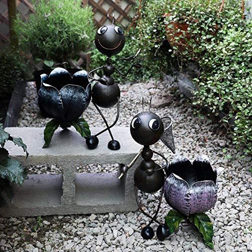 ACAMPTAR Garden Sculpture Outdoor 2 Pcs/Sets Wrought Iron Ant Animals Statues Sculptures Couple Garden Decoration…