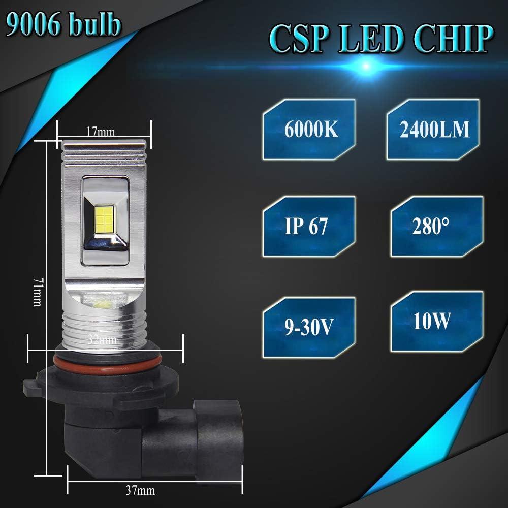 OPP ULITE 9006 Led Fog Light Bulb Led Headlight Bulbs for DRL or Fog Lights 6000K Xenon White 12pcs CSP Led Chip 2400LM Plug and Play HB4 Led Bulbs for Automotive