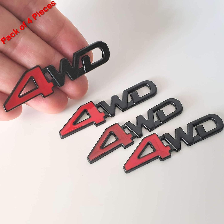 4Wd Matt Black 6.5Cm Emblem Chrome Metal Badge Trunk Auto Fender Side Door Car Adhesive 3D Die Cast Zinc Alloy SAISDON 5176BKRD 4 Pieces
