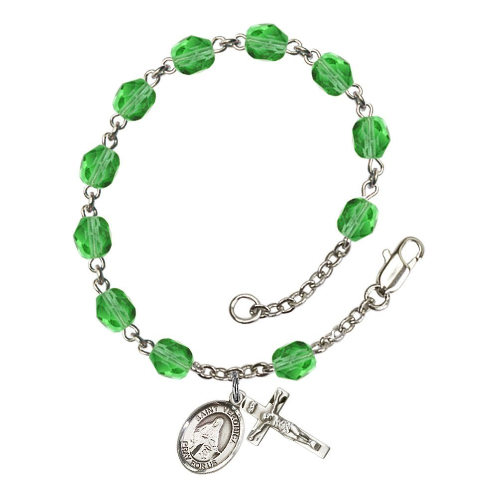 Bonyak Jewelry St. Veronica Silver Plate Rosary Bracelet 6mm August Green Fire Polished Beads Crucifix Size 5/8 x 1/4 Medal Charm