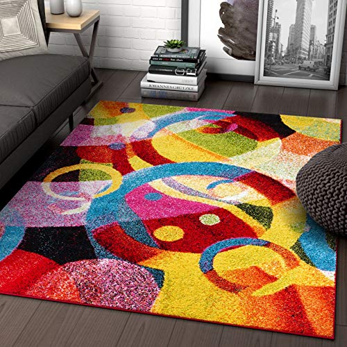 Bubble Bright Multi Circles Yellow Blue Red Abstract Geometric Lines Area Rug 8x10 (7'10