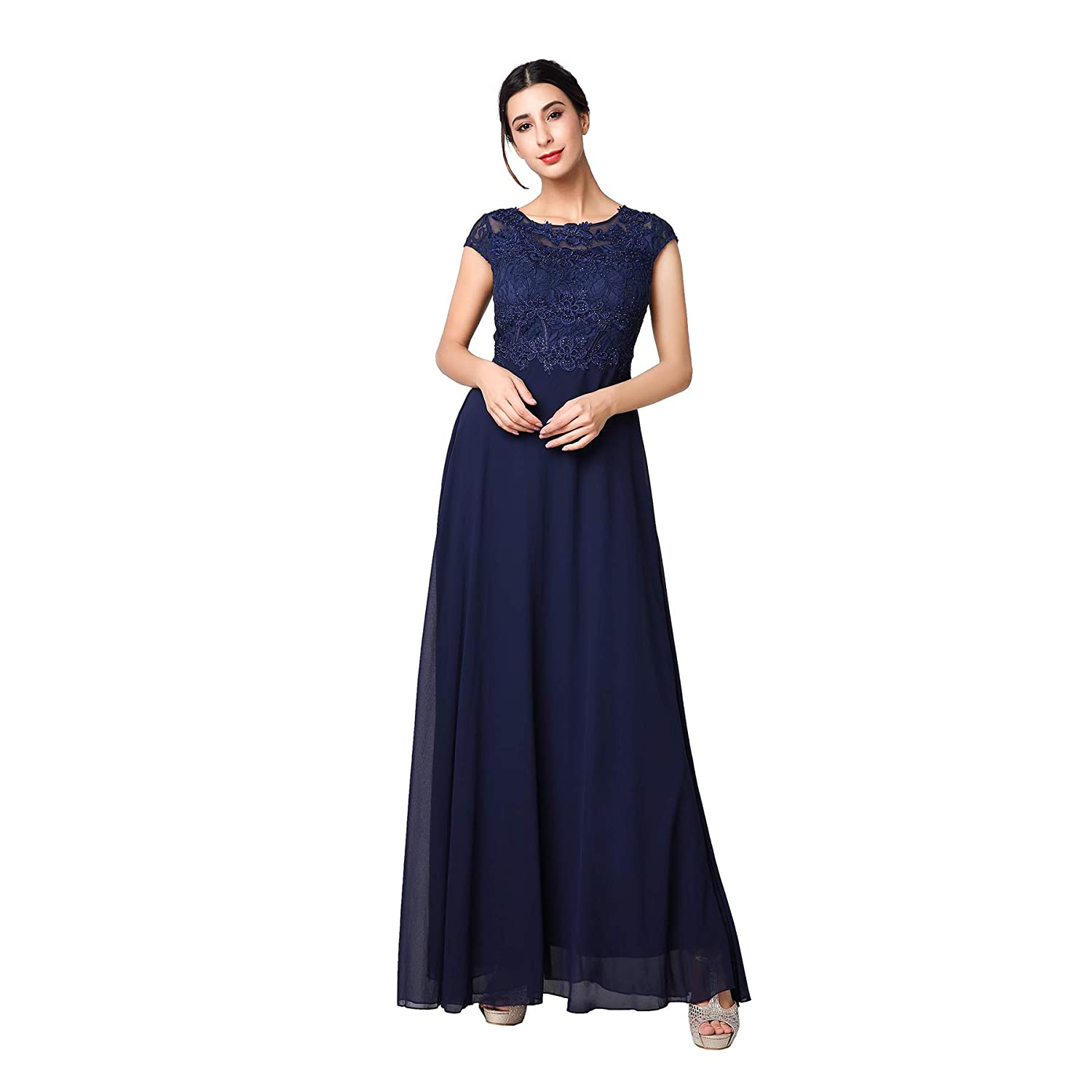 bluee KAILINLANG Elegant Cap Sleeve Round Neck Party Evening Long Dress for Women