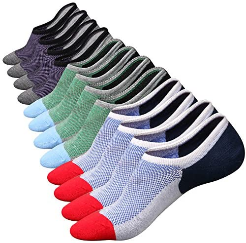 Mens No Show Socks Low Cut Ankle Casual Invisible Cotton Non-Slip Durable Socks 8-11/11-13/12-14