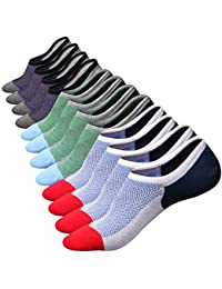 Mens Cotton Low Cut No Show Casual Non-Slide Socks OS Multicolor(6Pack)