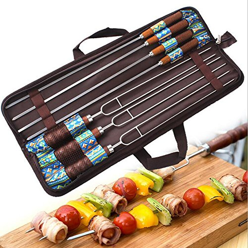 Ezyoutdoor Pack of 7 Pieces U-Shaped Stainless Steel Barbecue Needles and Fork Wood Handle Barbecue Accessories Camping Cooking Tools with Carry Bag