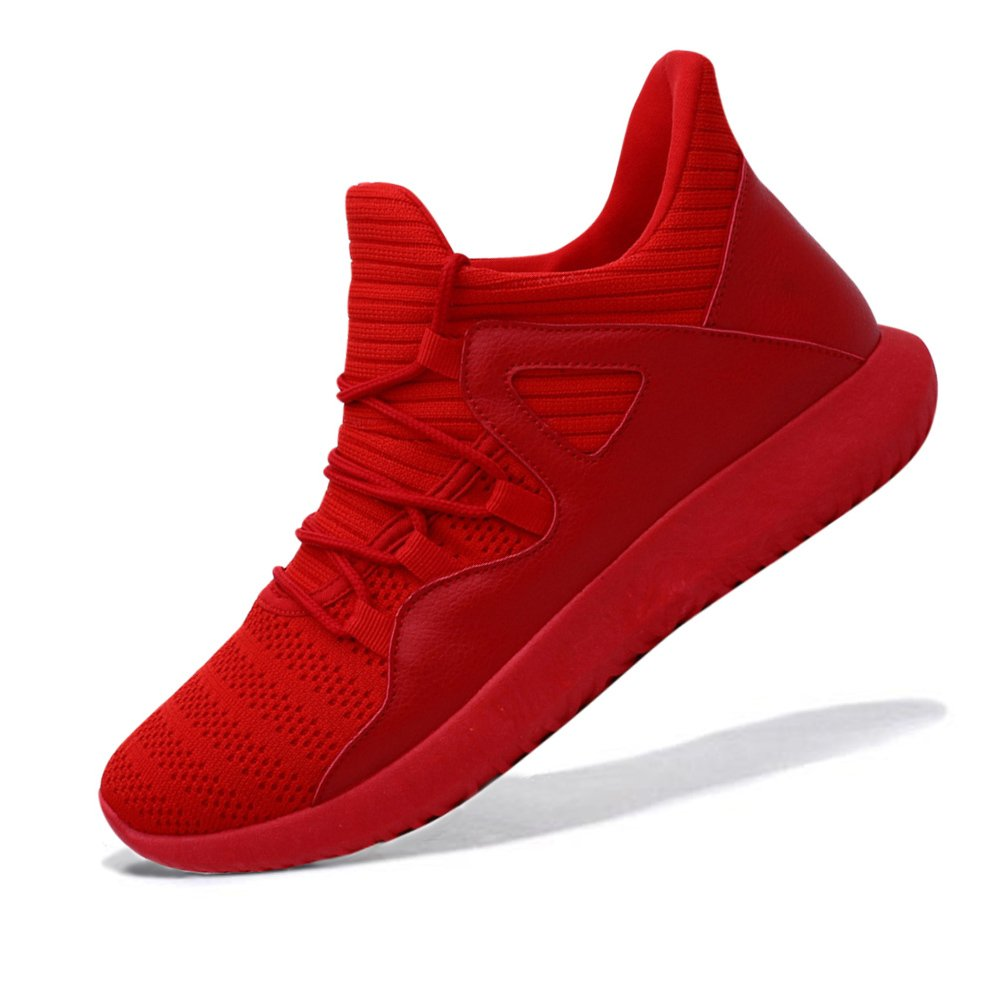 MAIERNISI JESSI Men's Women's Casual Lightweight Breathable Mesh Sneakers Running Shoes B0793J7VPM Men US10.5-Women US12|Red