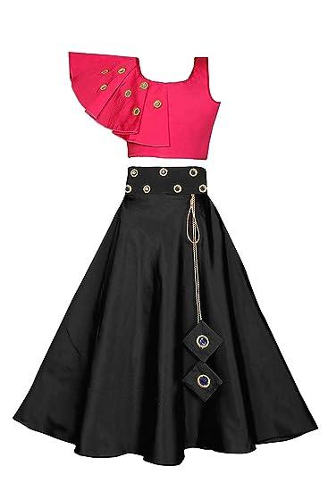 Buy Square Enterprise Fashion Girl Indian Brocade Self Design Lehenga Choli Set Pink And Black Ethnic Wear Girl Dresses Silk Lehenga Choli At Amazon In,Simple Non Traditional Wedding Dresses