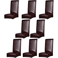 MagiDeal 8 Pieces Stretch Chair Cover Leather Seat Cover Dining Room Decoration Brown