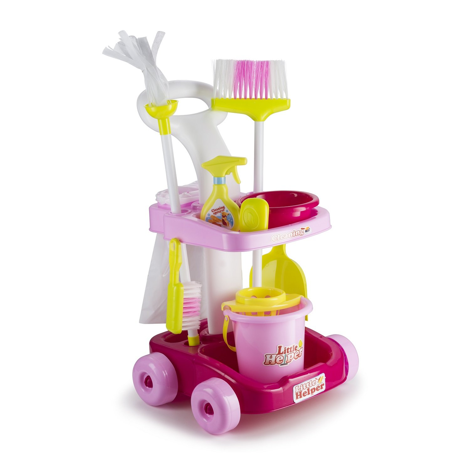 JaxoJoy Housekeeping & Cleaning Trolley Playset – Mini Clean Up Cart for Kids with Mop & Bucket, Broom & Dustpan and Other Play Pretend Toys – Perfect Gift for Ages 3 & Up