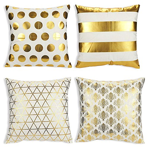 - Juvale Throw Pillow Covers - 4-Pack Gold Decorative Couch Throw Pillow Cases Girls Woman, Modern Home Décor Cushion Covers, Gold Foil Pattern Prints, 17 x 17 inches