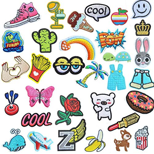 32 Pcs Iron On Embroidered Viaky 0.7-5.5 ins(2-14CM) Assorted Size Motif Applique Glitter Sequin DIY Decoration Patches Sew on Patch Perfect for Jeans,Clothing,Jacket,Handbag,Shoes