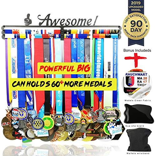 Medal Hanger Awards Holder Display Rack for 60 Medals Use for All Sports Black Steel Medal Hanger Holder,Race Medal Display Holder,Running Medal Hangers,Hanger formedals,Bonus Wrist Wallet Included ()