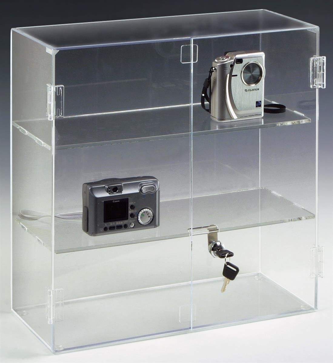Displays2go 16.5 by 16.25-Inch Countertop Acrylic Display Case with 2 Shelves JH172