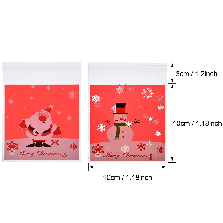 Bolsas autoadhesivas de celofán, 200 unidades, bolsas de regalo de Navidad, bolsas de plástico para dulces, pequeñas bolsas de regalo de color rojo ...