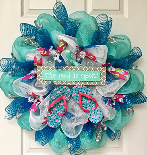 Pool Is Open With Real Flip Flops Summer Handmade Deco Mesh Wreath