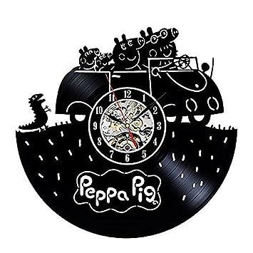 OOFAY Clock@ Reloj De Pared Discos De Vinilo Dibujos Animados Infantiles Peppa Pig 3D Creatividad Decoración para Pared Estilo Familias Habitación Salon ...