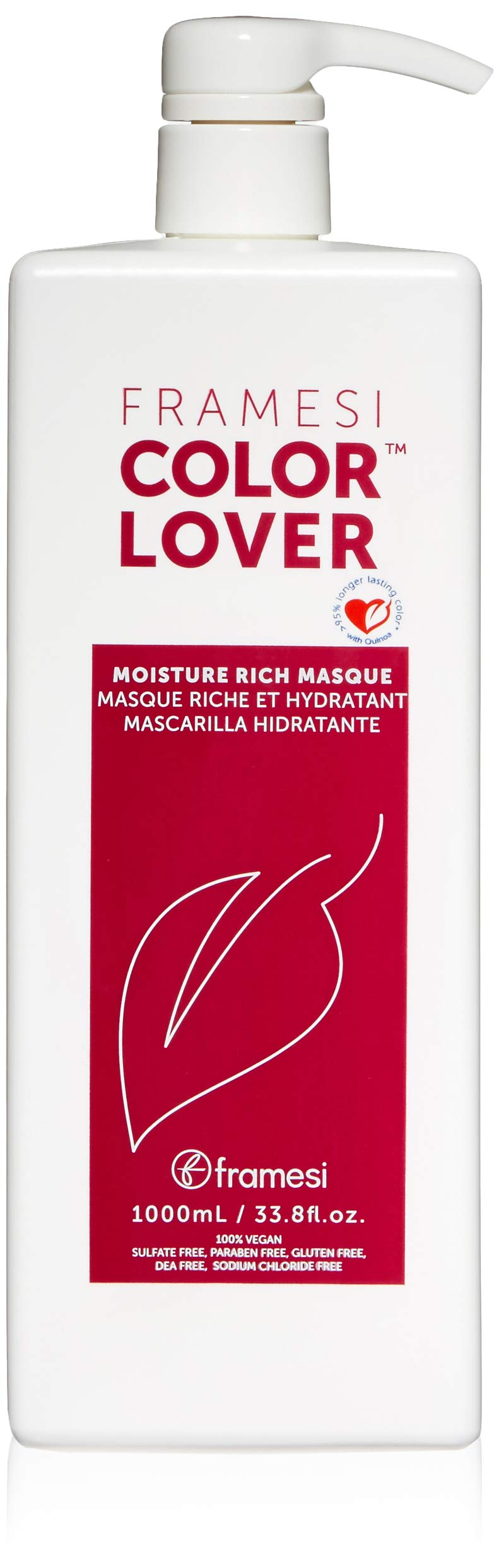 Framesi Color Lover Moisture Rich Masque - 33.8 Ounce, Revitalizing Treatment, Color Safe, Weightless and Moisture Rich Mask, Vegan, Gluten Free, Cruelty Free