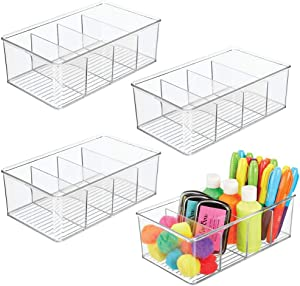 mDesign Plastic Craft & Sewing Storage Organizer Bin Box - 4 Divided Sections - Holder for Holds Paint, Colored Pencils, Glitter, Stickers, Glue, Yarn, 4 Pack - Clear