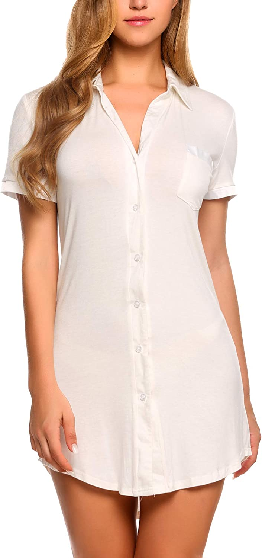 Avidlove Womens Sleep Shirt Sexy Sleepwear Short Sleeve Button-Front Nightshirts